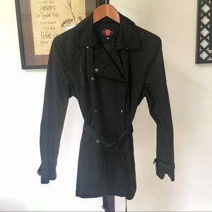 Classic black trench coat with belt